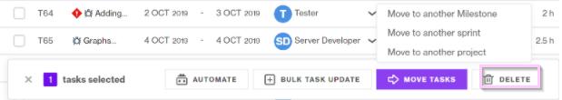 delete tasks