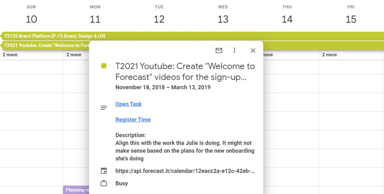 Help calendar task links